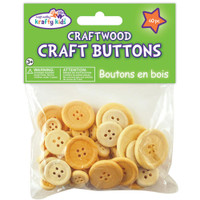 Craftwood Craft Buttons Assorted 40/Pkg