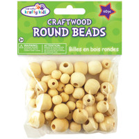 Craftwood Round Beads 10mm To 16mm 60/Pkg