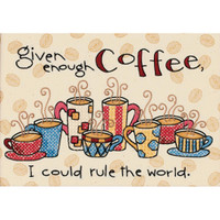 Dimensions - Enough Coffee Mini Stamped Cross Stitch