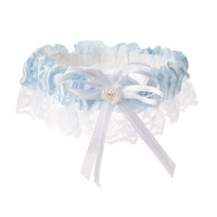 Victoria Lynn™ Garter - Satin and Lace Trim with Heart – Light Blue