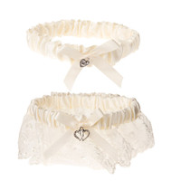 Victoria Lynn™ Garter Set - Heart Accent - Cream - 2 pieces