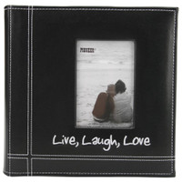 "Pioneer Embroidered Stitched Leatherette Photo Album 9""X9"" - Live, Laugh & Love – Black"