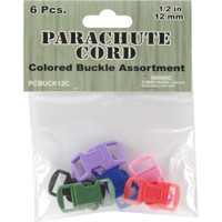 Parachute Cord Bracelet Buckles 12mm 6/Pkg – Assorted Colors