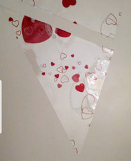 Cello Triangles for making henna cones - red and white hearts - limited edition print