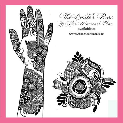 Free Bridal Henna Design Sample - Elegant, modern, trendy mehndi designs - The Bride's Rose by Alia Mansoor Khan