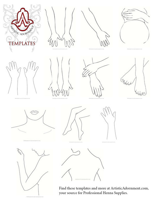 Free henna body art templates - black outlines of hands, feet, pregnant belly, back, legs, arms, neck. clavicle, foot for drawing your own designs