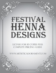 Cover for Festival Henna Designs, license and pricing guide - Designs by Henna by Heather, licensed by ArtisticAdornment.com