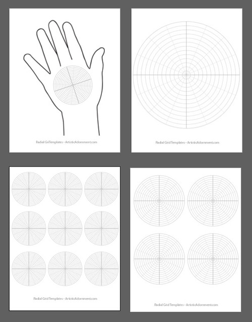 Henna Mandala Radial Grid Drawing Aid Free Templates / Practice pages for download