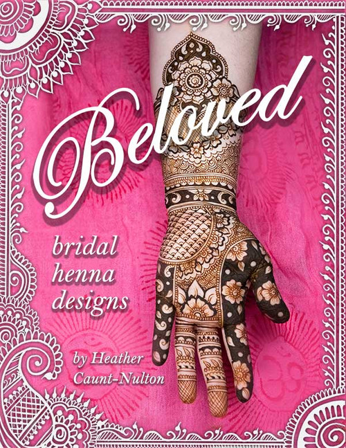 Beloved - Bridal Henna Designs by Heather Caunt-Nulton - ArtisticAdornment.com - Wedding Mehendi designs for brides with reverse negative fill, intricate detail, grids, bridal blocks, layout ideas, fills, motifs, flowers, peacocks, mandalas, and more