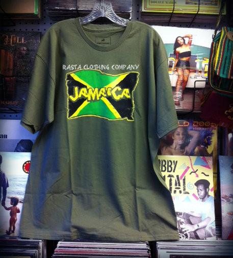 Jamaica Flag - Army Green   T-Shirt - Rasta Clothing Company ceaa8a632298