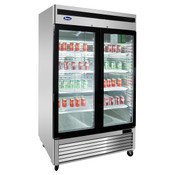 "NEW 2 Glass Door 55"" Refrigerator Stainless Steel Reach In Cooler NSF Atosa MCF8707GR #1100"
