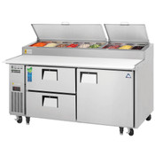 "NEW 1 Door 2 Drawer 71"" Refrigerated Pizza Prep Table Stainless Steel Cooler NSF Everest EPPR2-D2 #3954"