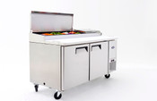 "NEW 2 Door 67"" Refrigerated Pizza Prep Table Stainless Steel Cooler NSF Atosa MPF8202GR  #2229"