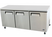 "NEW 3 Door 72"" Undercounter Refrigerator Solid Stainless Steel Cooler NSF Atosa MGF8404GR #2217"