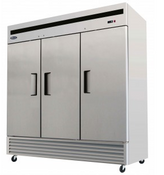 "NEW 3 Door 82"" Refrigerator Solid Stainless Steel Reach In Cooler NSF Atosa MBF8508GR #2216"