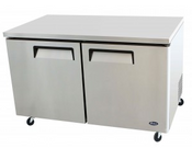 "NEW 2 Door 60"" Undercounter Refrigerator Solid Stainless Steel Cooler NSF Atosa MGF8403GR #2347"
