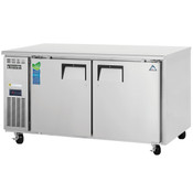 "NEW 2 Door 60"" Under Counter Freezer Side Mount Digital Display Stainless Steel NSF Everest ETWF2 #4422"