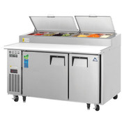 """NEW 2 Door 60"""" Refrigerated Pizza Prep Table Stainless Steel Cooler NSF Everest EPPSR2 #3114"""
