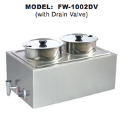 Double Food Warmer w/ Drain Valve UNIWORLD FW-1002DV (NEW) #4596