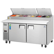 """NEW 2 Door 71"""" Refrigerated Pizza Prep Table Stainless Steel Cooler NSF Everest EPPR2 #4823"""