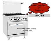 "36"" 6 Burner Range & Gas Oven Cook Rite ATO-6B NEW #6037"