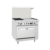 """NEW 36"""" Range 2 Burner Grates 24"""" Polished Griddle Stainless Steel Oven Atosa ATO-2B24G #6040"""