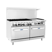 """NEW 60"""" Range 6 Burner Grates 24"""" Polished Griddle Stainless Steel Oven Atosa ATO-6B24G #6044"""