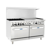 """NEW 60"""" Range 4 Burner Grates 36"""" Polished Griddle Stainless Steel Oven Atosa ATO-4B36G #6046"""