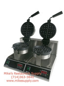 """NEW 7"""" Double Round Belgian Waffle Maker Electric Adcraft BWM-7/R-2 #6300"""