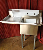 18x18 Sink 1 Compartment w/Left Drainboard NEW NSF #7000