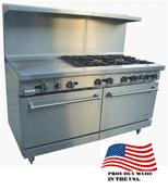 "NEW 60"" LP Propane Range 8 Open Burner & 12"" Griddle Flat Top Double Oven Stratus SR-8G12 #7274"