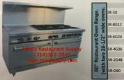 """NEW 60"""" Range 2 Open Burners 48"""" Griddle & 2 Gas Ovens Stratus SR-2G48 #7235"""