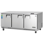 "NEW 3 Door 71"" Undercounter Freezer Stainless Steel Worktop NSF Everest ETBF3 #3113"