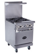 "NEW 24"" Range 4 Open Flame Burner & Std Oven Base Royal RR-4 #1123"