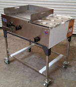 "NEW 36"" Taco Cart Plancha Flat Top Griddle & Steam Table Propane LP Gas #1189"