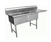 2 Compartment Sink 15X15 Stainless Steel Right Side drainboard NSF NEW SE15152R #8881