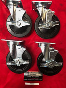 "NEW (4 PACK) 6"" Universal Caster w/Brake 525-HRP-VLB #9532"