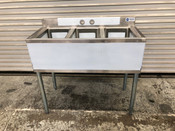 "10x14 Sink 3 Compartment Under Bar 38"" Dish Wash NEW #9792"
