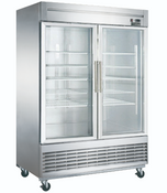 "NEW 2 Glass Door 55"" Refrigerator Display Cooler Merchandiser NSF Dukers D55R-GS2 #2034"