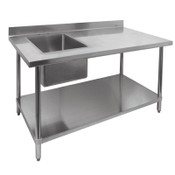 "30"" x 48"" Work Table & Left Side Single 16"" x 20"" Sink Prep Station All Stainless Steel NSF GSW NEW #2095"
