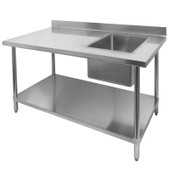 "30"" x 48"" Work Table & Right Side Single 16"" x 20"" Sink Prep Station All Stainless Steel NSF GSW NEW #2098"