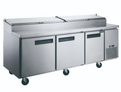 "90"" 3 Door Refrigerated Pizza Prep Table NSF Dukers DPP90 NEW #2196"