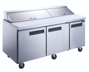 "72"" 3 Door Refrigerated Sandwich Salad Prep Table NSF Dukers DSP72-20-S3 NEW #2200"
