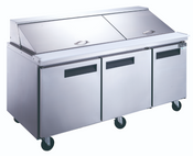"72"" 3 Door Mega Top Refrigerated Sandwich Salad Prep Table NSF Dukers DSP72-30M-S3 NEW  #2204"
