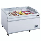 "NEW 56"" Curved Glass Top Anti Fog Sliding Lid Chest Freezer 115V NSF Dukers WD-500Y #2239"