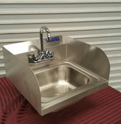 NEW 17x15 Wall Mount Hand Sink with Side Splash Guards & Faucet Stainless Steel NSF #1919