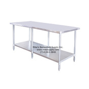 "NEW 96"" X 30"" All Stainless Steel Work Table & Adjustable Under Shelf Atosa NSF SSTW-3096 #2746"