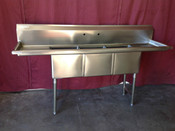 3 Comp. Sink 15X15  Stainless Steel with dual drainboards NSF NEW GSW SE15153D #2076