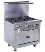 "NEW 36"" Range 6 Open Flame Burner & Convection Oven Royal RR-6-C #4509"
