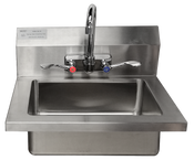 """New 18 x 15 Hand Sink With Faucet 8"""" Backsplash 18G 304 Stainless Steel Atosa MRS-HS-18 (W) #5010"""